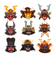 Ancient samurai warrior war masks set symbols of vector