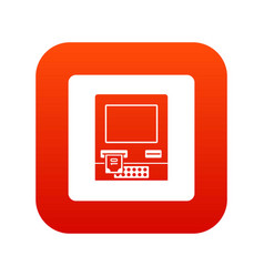 atm bank cash machine icon digital red vector image