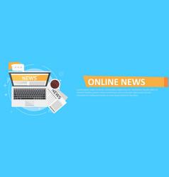 banner online news computer coffee newspaper vector image