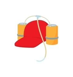 Baseball cap and two aluminum cans with straw icon vector image