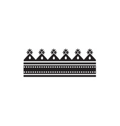 black paper crown silhouette with rectangle base vector image