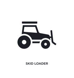 Black skid loader isolated icon simple element vector