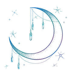 Blue crescent moon with moonstone gem pendants vector