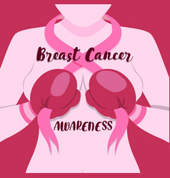 breast cancer month pink fighter woman card vector image