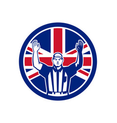 British american football referee union jack flag vector