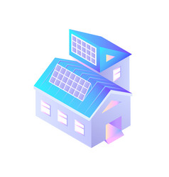 buildings with installed solar batteries isolated vector image