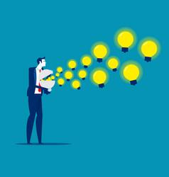 Businessman spreading knowledge brilliant ideas vector