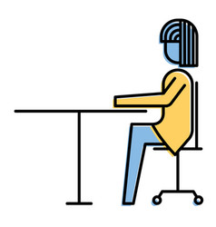 Businesswoman sitting in chair with desk side view vector
