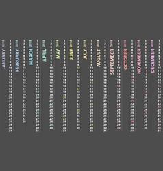 Calendar 2018 with vertical design vector