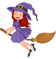 Cartoon little witch flying use a broomstick vector