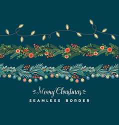 christmas and happy new year seamless borders vector image