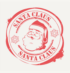 christmas sign print with a cute santa claus face vector image