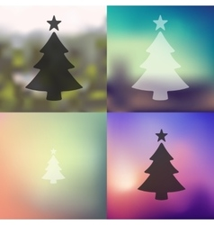Christmas tree icon on blurred background vector