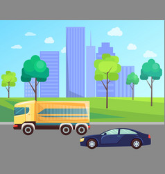 city transport car and truck on highway vector image