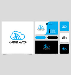 cloud wave logo line style and business card vector image
