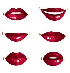 Collection of red female lips with makeup vector