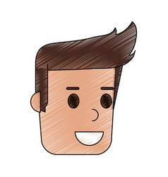 Color pencil cartoon side view face guy with vector