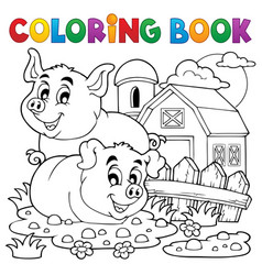 Coloring book pig theme 2 vector