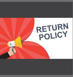 Conceptual writing showing return policy vector
