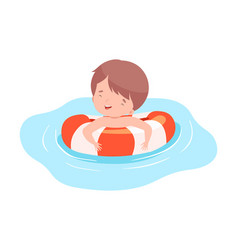 Cute boy swimming with inflatable lifebuoy kids vector