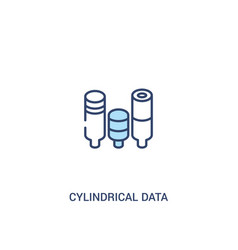 Cylindrical data graphic concept 2 colored icon vector