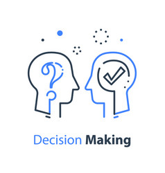 Decision making human head and question mark vector