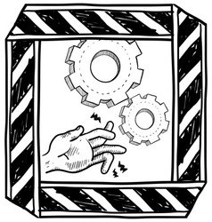 doodle danger machinery vector image