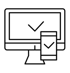 electronic devices with approval thin line icon vector image