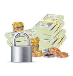 Finance secure concept metal coins money vector