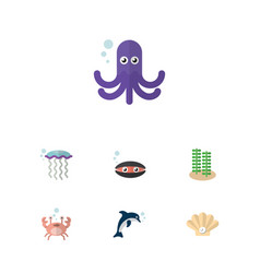 Flat icon marine set of cancer playful fish vector