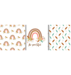 floral rainbow seamless pattern set cute pastel vector image