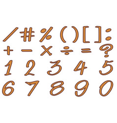 font design for numbers and signs in brown color vector image