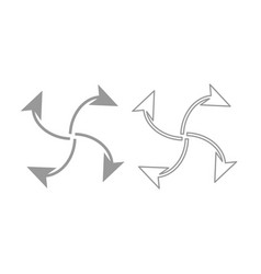 Four arrows in loop from center icon grey set vector