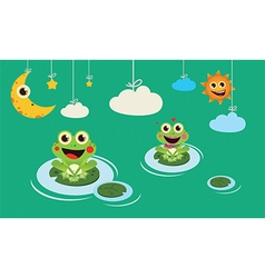 Frogs night and day vector