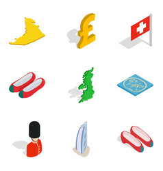 Global strategy icons set isometric style vector