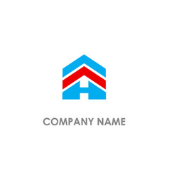 H initial realty building logo vector