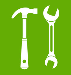 hammer and wrench icon green vector image
