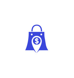 hand bag pin money in a white background for logo vector image