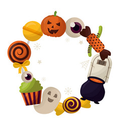 happy halloween circular frame vector image