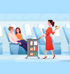 hospitality service in airplane cartoon vector image