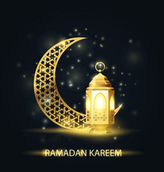 islamic crescent and lantern covered with arabic vector image