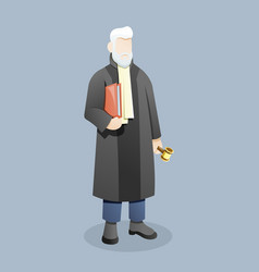 judge or lawyer carry document holding gavel vector image