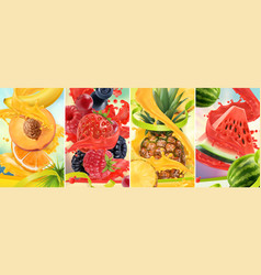 juicy and fresh fruit peach strawberry raspberry vector image