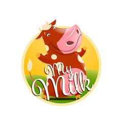 Label of milk with funny brown cow vector