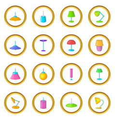 lamp icons circle vector image