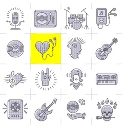 Line art music icons set Rock punk symbols vector image