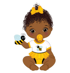 Little african american baby girl holding cute bee vector