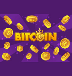 Logo bitcoin and gold coins on violet background vector