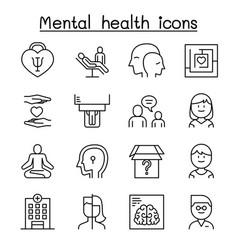 Mental health psychology icon set in thin line vector