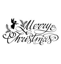 Merry christmas black hand lettering vector